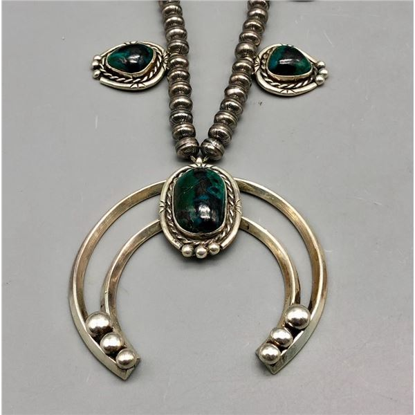 Squash Blossom Style Necklace with Chrysocolla