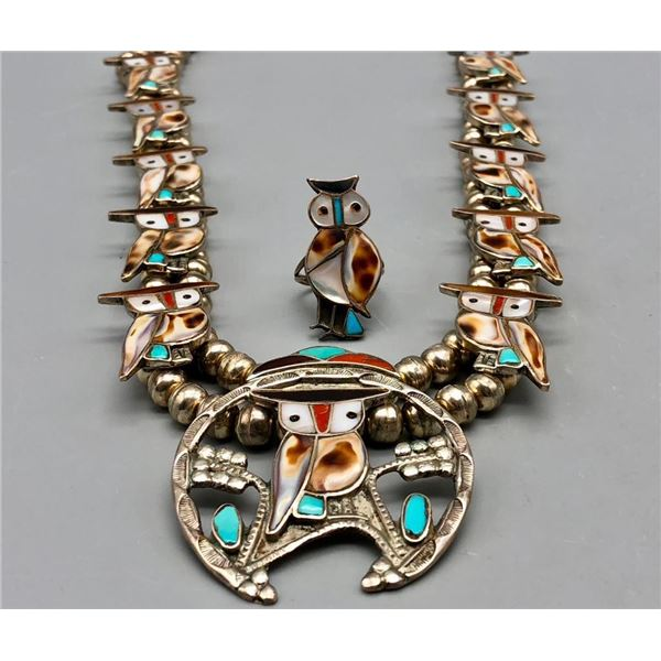 Zuni Owl Inlay Necklace and Ring Set