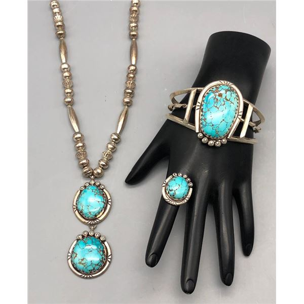 Turquoise and Sterling Silver Necklace Bracelet and Ring