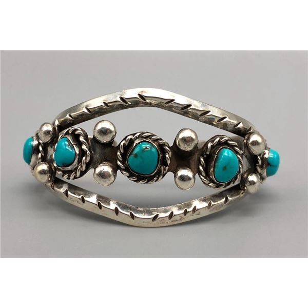 Five Stone Turquoise and Sterling Silver Bracelet