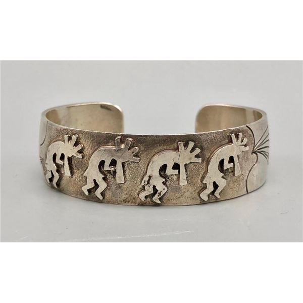 Kokopelli Theme Sterling Silver Overlay Bracelet