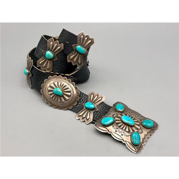 Beautiful Vintage Turquoise and Sterling Silver Concho Belt