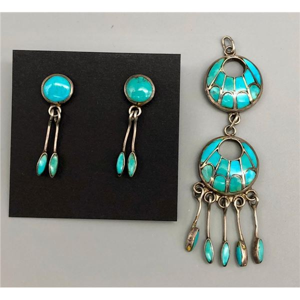Zuni Earrings and Converted Pendant