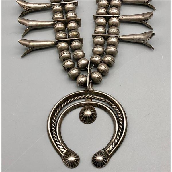 Wonderful Vintage Sterling Silver Squash Blossom Necklace