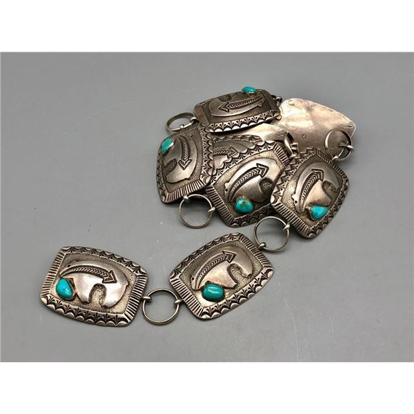Bear Themed Sterling Silver and Turquoise Concho Belt