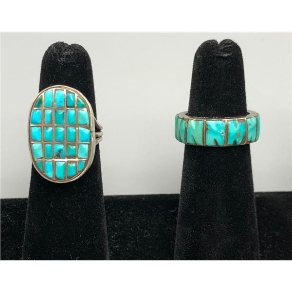 Two Older Turquoise and Sterling Silver Inlay Rings