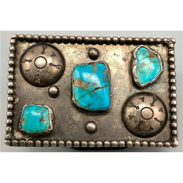 Well Worn Vintage Turquoise Belt Buckle