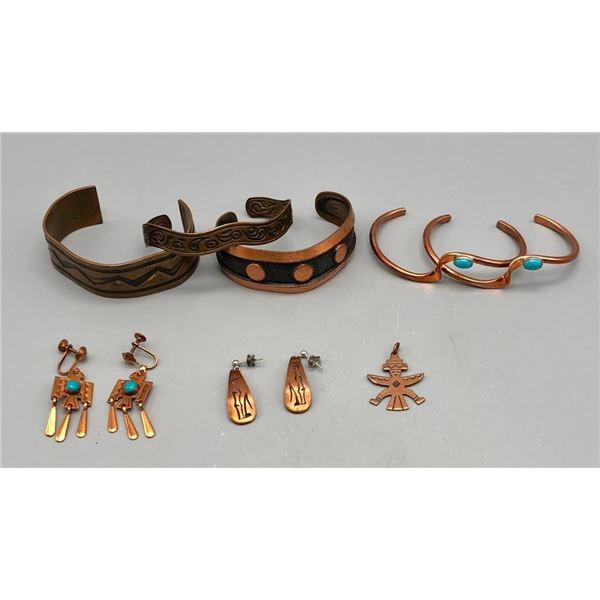 Group of Five Copper Bracelets, Turquoise Earrings, Etc.