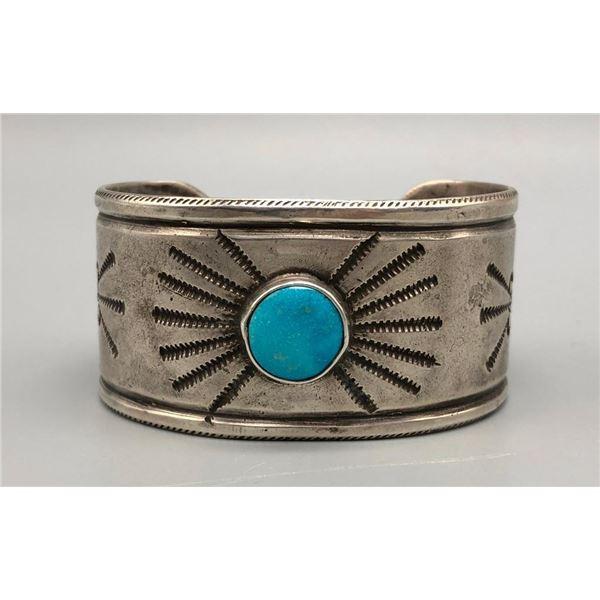 Incredible Vintage Ingot and Turquoise Bracelet