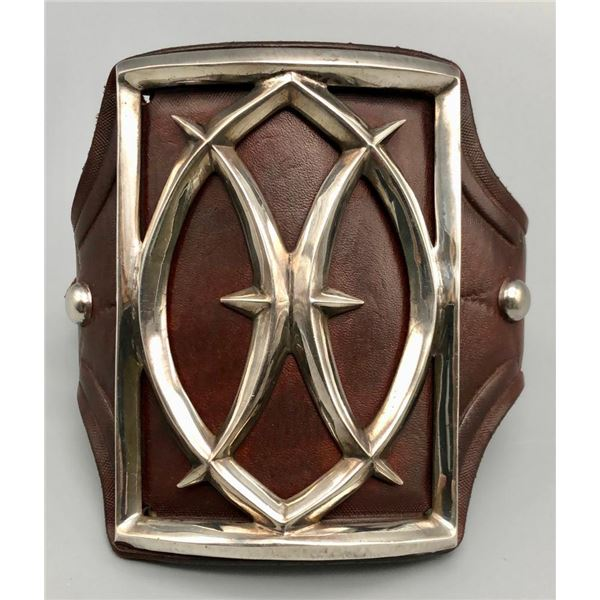Sterling Silver and Leather Ketoh (bow guard)