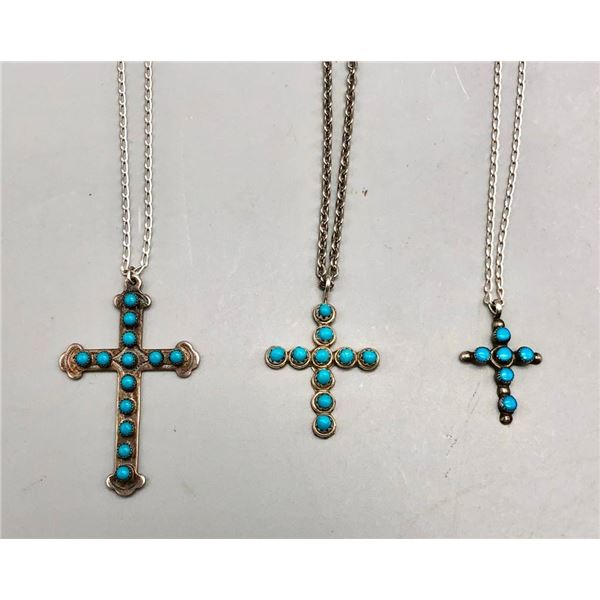 Three Turquoise and Sterling Silver Cross Necklaces
