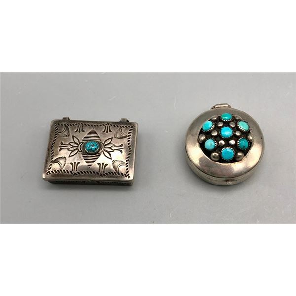 Two Vintage Sterling Silver and Turquoise Boxes - 1 is Frank Patania