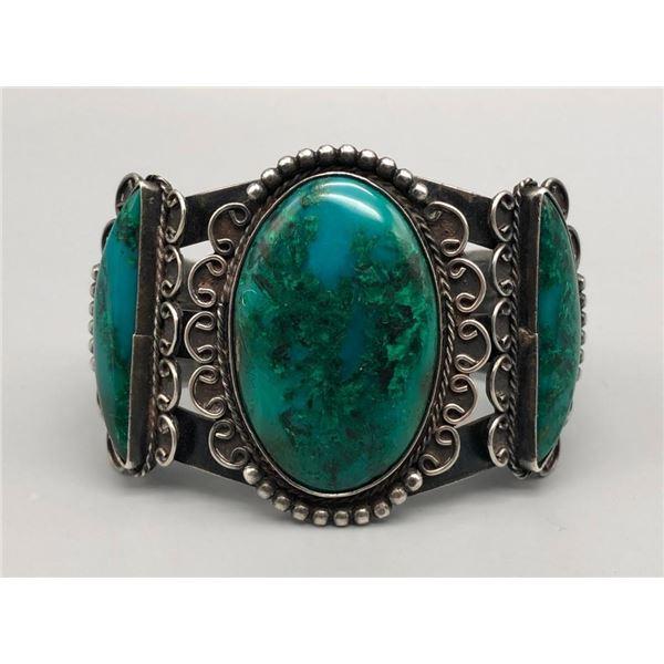 1930s Era Gem Grade Chrysocolla and Sterling Silver Bracelet