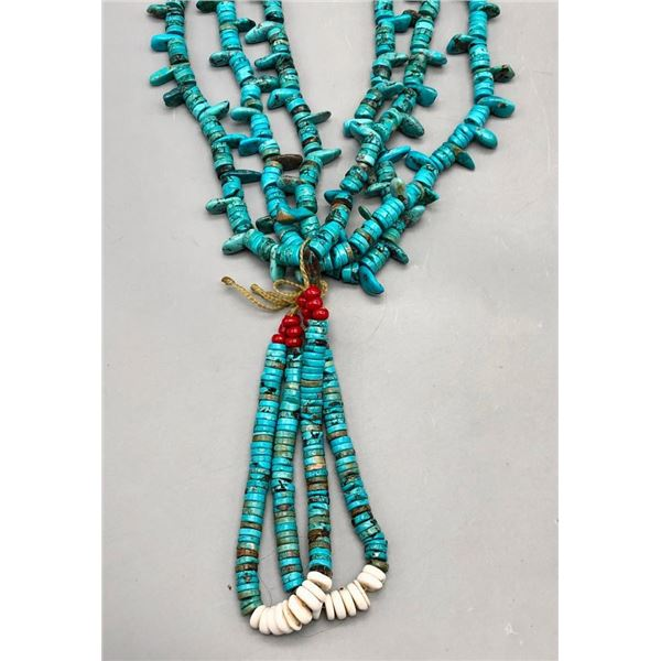 Three Strand Turquoise and Heishi Necklaces with Jocla