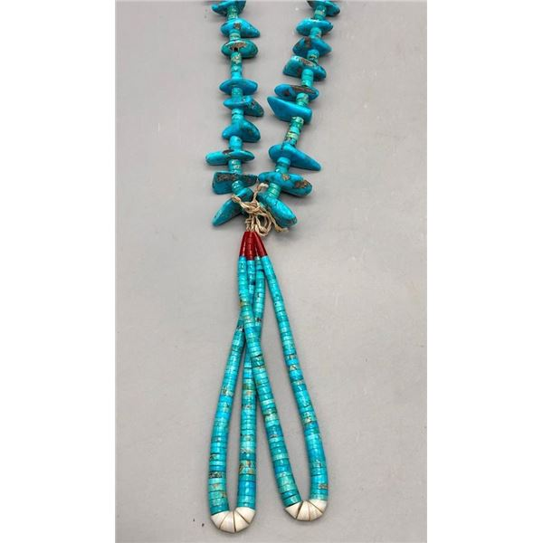 Vintage Turquoise Tab Necklace with Joclas