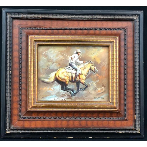 Original Cowboy Oil Painting by W. Krell