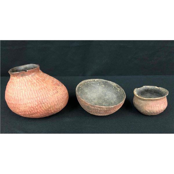 Three Salado Corrugated Pots