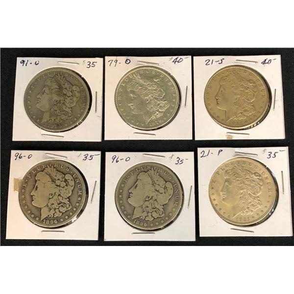 Group of Six Morgan Dollars
