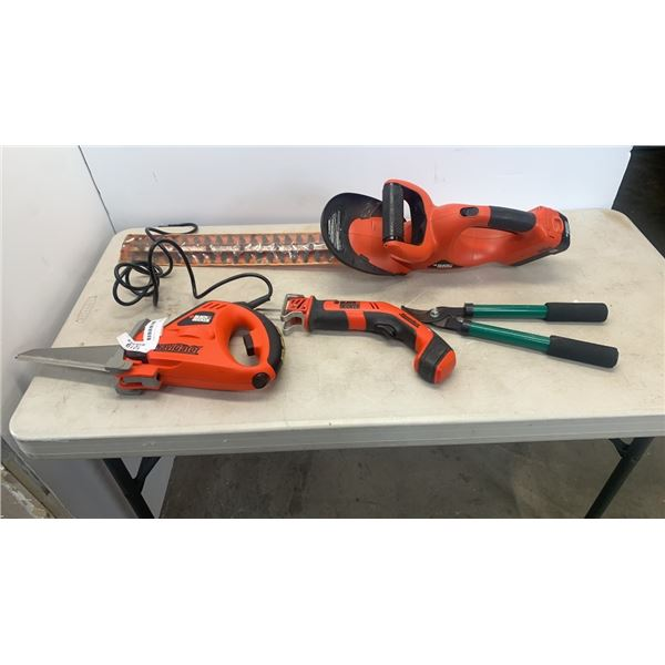 BLACK AND DECKER ELECTRIC SAWS, CORDLESS HEDGE TRIMMER