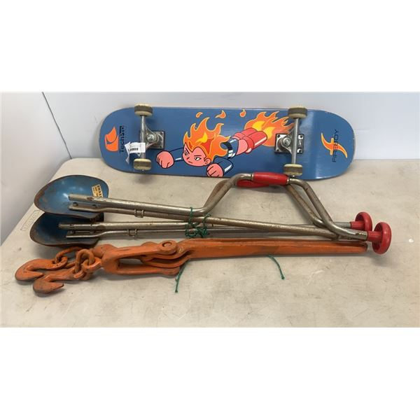 2 HAND AUGERS, HEAVY DUTY CINCH AND FIREBOY SKATEBOARD