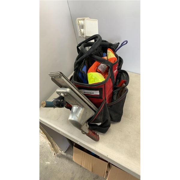 TOOLBAG WITH CONTENTS AND LONG BOARD AIR SANDER
