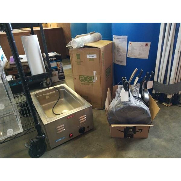600 new disposable hotcups, commercial food warmer and new pans