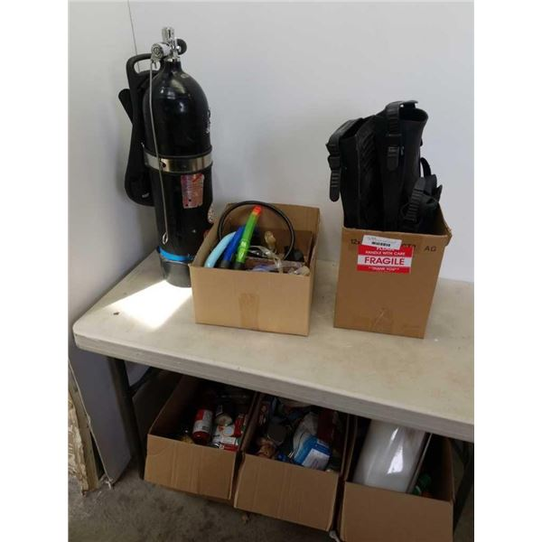 Oxygen tank with flippers, gauges snorkels and more