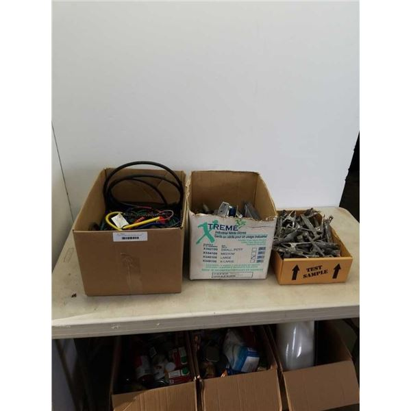 3 boxes of bungee cords, grounding clips and more