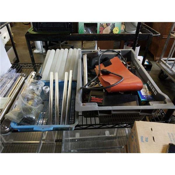Lot of tools, acrylic cylinders, iron grip mechanical plug and aluminum tubes