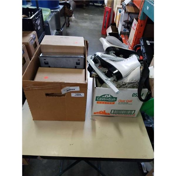 2 BOXES OF METAL TISSUE DISPENSERS AND SKATES