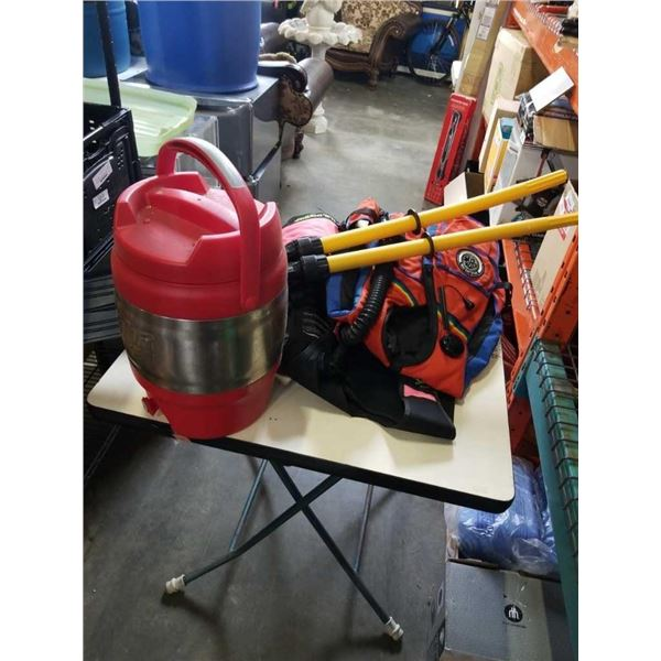 Folding instacrate, with 2 divers vests paddles and Bubba keg