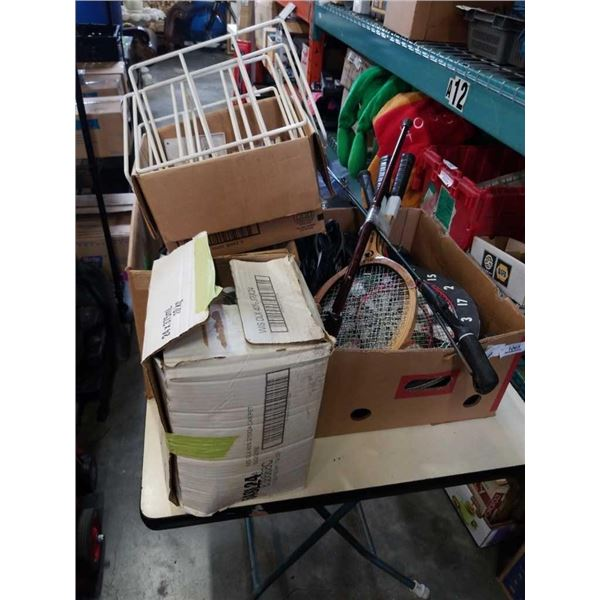 LOT OF SPORTS ITEMS, RACKETS, BOX OF CONTAINERS AND HARDWARE