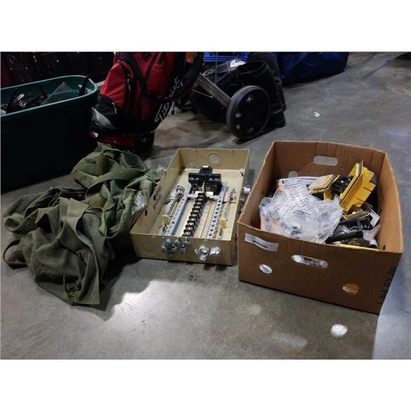 2 TRAYS OF ELECTRICAL HARDWARE AND 2 MILITARY DUFFEL BAGS