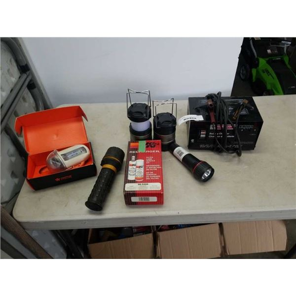 BATTERY CHARGER, FLASHLIGHTS, GPS CASE AND FILTER CHARGE KIT
