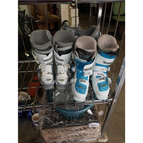 NORDICA TEAM 3 FIRE ARROW SKI BOOTS, AND 2 PAIRS NORDICA CRUISE NFS SKI BOOTS