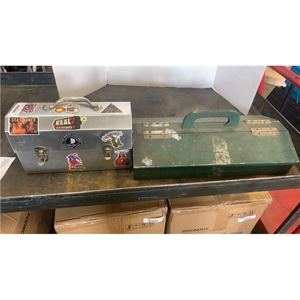 Metal lunch box and wood toolbox with hardware