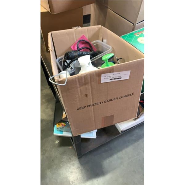 Box of flyswatter, leather Whip and more