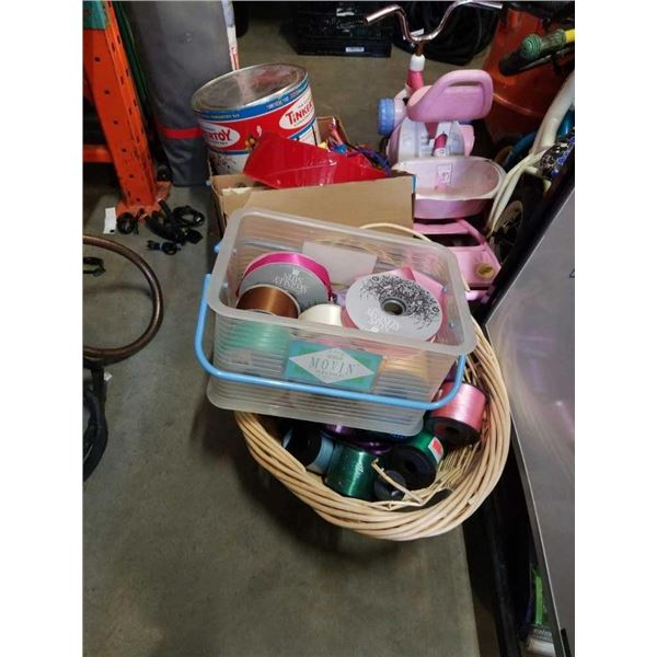 Lot of Tinkertoy, beyblade accessories with ribbons and bows