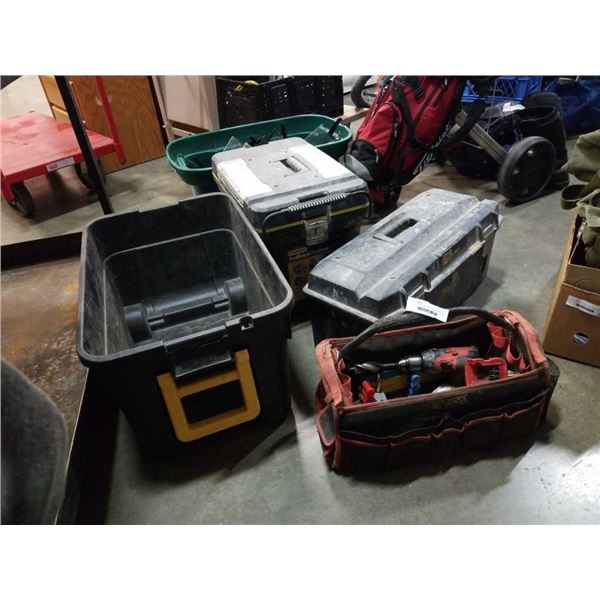 2 TOOLBOXES, BIN AND TOOL BAG WITH CONTENTS