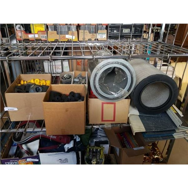 Large lot of air filters, brackets, rubber washers, stair thread and more