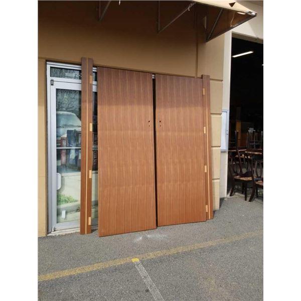 WALNUT VENEER DOUBLE WIDE DOORS WITH JAMS