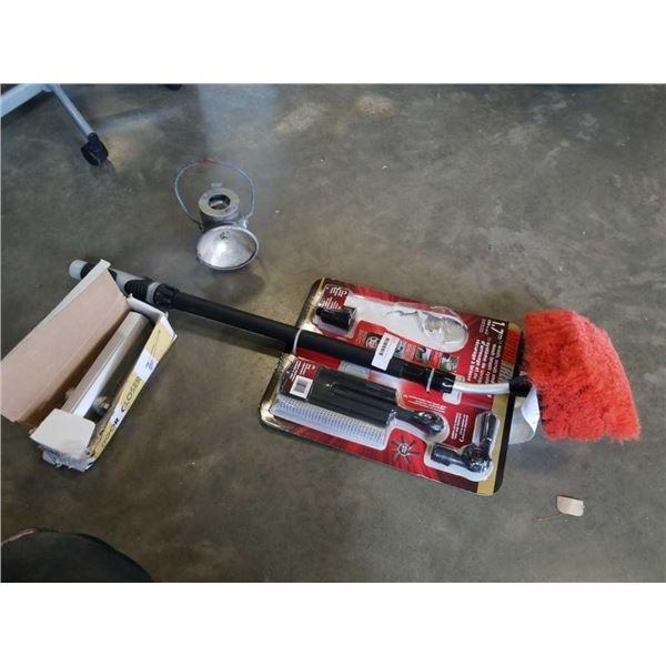 MOTOR TREND WASH BRUSH, DOOR CLOSER AND VINTAGE ELECTRIC LANTERN
