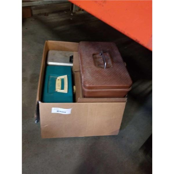 BOX OF TACKLEBOXES WITH CONTENTS AND FISHING SUPPLIES