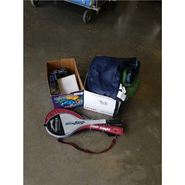 Two boxes of sleeping bags, lights and racquets