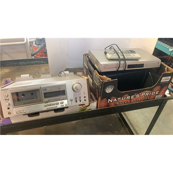 SONY TC-K77R STEREO CASSETTE DECK, TOSHIBA DVD PLAYER AND SPEAKERS