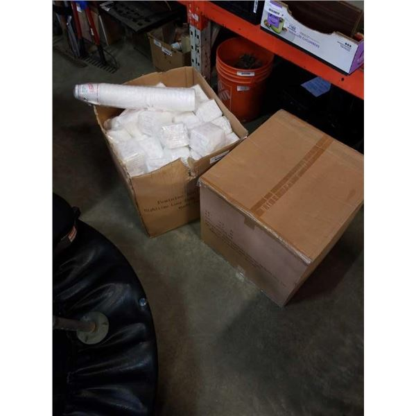 2 BOXES OF FEMININE SANITARY NAPKINS AND BOX OF PICTURE FRAMES AND SPEAKERS