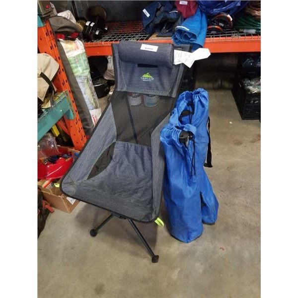 3 small folding camp chairs and cascade disassembling travel chair
