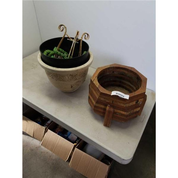 WOOD PLANTER AND 2 OTHER PLANTERS