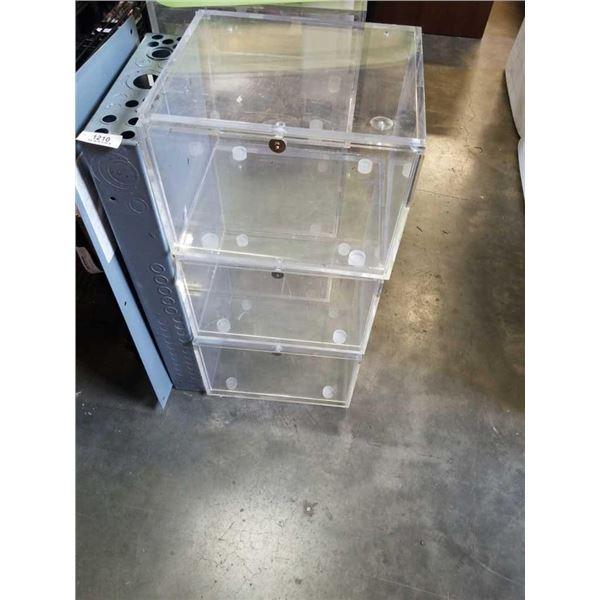3 acrylic sliding door display cases