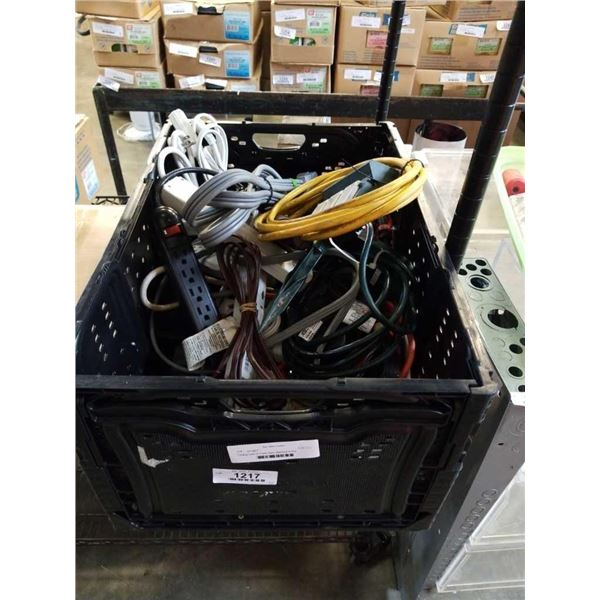 Folding crate of Power Bars, electrical timers and extension cords
